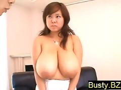 Busty blonde fuko shows off her nude huge boobs large tits