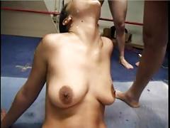 Dirty talking slut loves her bukkake cum bath
