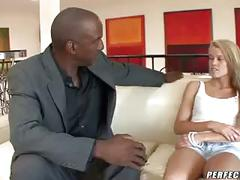 Blonde teen fucks black stepdad
