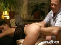 Fisting his slut wifes cavrnous greedy pussy