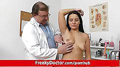Aged gyn doctor spreads pussy of hot brunette lily