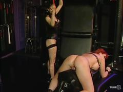 fetish, tube8.com, redhead, milf, lezdom, femdom, busty, big tits, slave, bdsm, tied, bondage, collared, restrained, strapon, corset