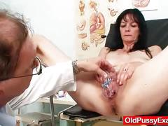 fetish, oldpussyexam.com, brunette, milf, cougar, natural boobs, landing strip, trimmed pussy, fingering, speculum, dildo