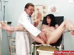 fetish, oldpussyexam.com, brunette, milf, cougar, natural boobs, landing strip, trimmed pussy, fingering, speculum, dildo