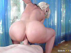 Titty racked blonde alena croft bounces on a stiff shaft