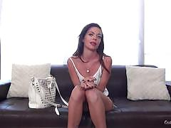 stella daniels, brunette, blowjob, riding, doggystyle, reverse cowgirl, masturbation, fingering, strip, naked, casting, sucking, masturbate