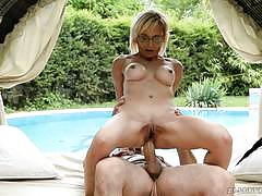 Mature blonde sucks cock then gets drilled in her bumhole