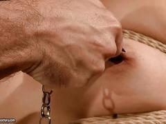 Pretty brunette gets bondaged