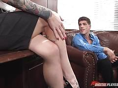 kleio valentien, blowjob, tattoo, cumshot, facial, busty, desk, office, table, bent over, watching, boss, eating pussy
