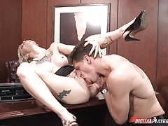 Kleio valentien rides a big dick on her office desk