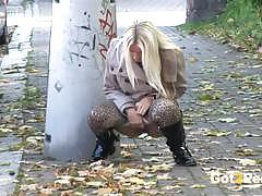 Filthy amateurs peeing in public