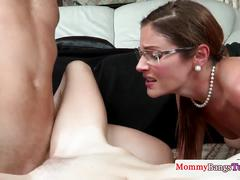 Ffm threeway with milf in spex riding cock