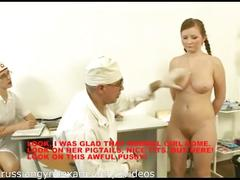 A plumpy busty russian babe on a gyno exam