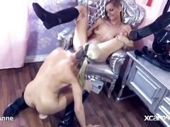 Domina and slave lesbian cam babes pussy licking and dildo fucking