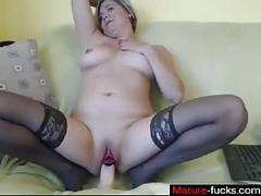 Sexy ass busty slut has a wank on her cunt
