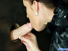 Naughty babe plastered with thick cum