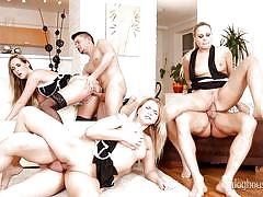 Blonde bitches get fucked @ swinger's orgies #10