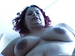 Fat redhead is fit to ride