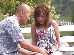 Aika goes naughty in outdoor along a horny male