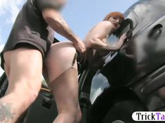 Naughty redhead with huge tits gets fucked for her taxi fare