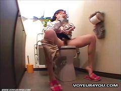 Voyeur onanism in toilet room area