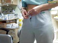 public, webcam, uniforms, homemade, mom, mother, cam-girl, cam-show, live-cam, nurse, glasses, uniform, small-boobs, flashing, stripping, teasing, hairy-pussy, brunette, at-work