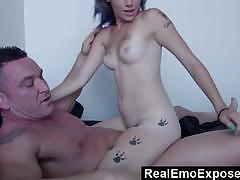 Emo babe gobbles down this hard cock