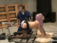 Dominated amateur machine fucked
