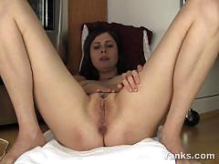 Seductive brunette masturbating