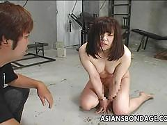Bound asian spanked in bdsm session