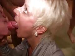 Mature blonde enjoys multiple facials