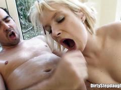 Dirty blonde stepdaughter sucking her stepdad cock