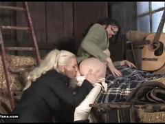 Horny lesbian babes eat pussy and fuck toys in sexy leather riding boots