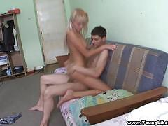 Blonde teen rides this hard cock