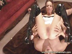 Busty amateur milf sucks and rides fat cock.