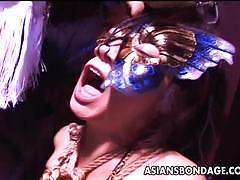 Bound asian plastered with cum