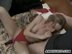 Wild threesome for amateur babe