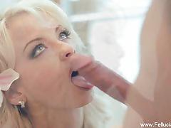 Enchanting blonde loves blowing it nice and slow