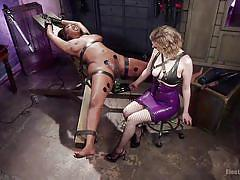facesitting, interracial, lesbian domination, blonde milf, ebony babe, dildo fuck, electrodes, electro bdsm, electro sluts, kink, cherry torn, lisa tiffian