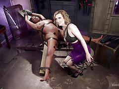 Ebony slave gets excited