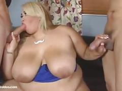 Pretty bbw with big tits anal threesome