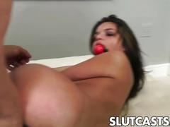 Bad young bitch is thought a hard sexual lesson