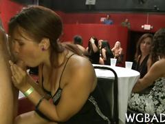 Skinny blonde gets her hands on a black strippers dick