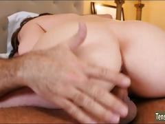 Beautiful babe getting a passionate fucking after some grab ass action