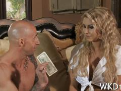 Blonde babe sucking and fucking a rich millionaire outside