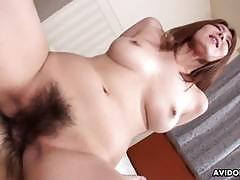 Raunchy babe bounces her hairy pussy on this hard dick