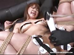 Dominated asian gets her pussy toyed
