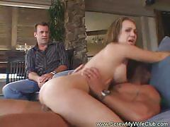 Swinger milf gets banged in front of her man