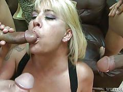 gangbang, blowjob, busty, group sex, undressing, blonde milf, pussy eating, white ghetto, fame digital, joclyn stone