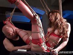 Japanese slut squirts on her master